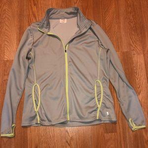 Grey with neon yellow running jacket
